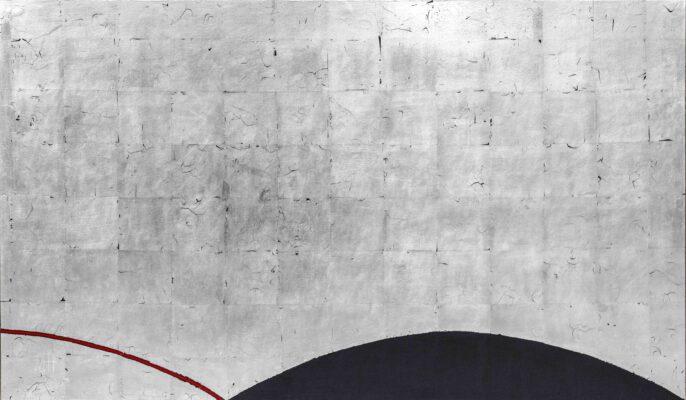 Temenos XI, 70x120 cm, Posrebrzanie na pulmencie + akryl,2020__