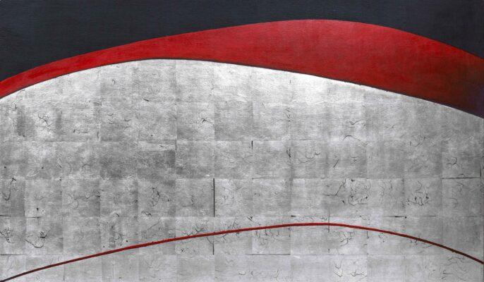 Temenos XII, 70x120 cm, Posrebrzanie na pulmencie + akryl,2020