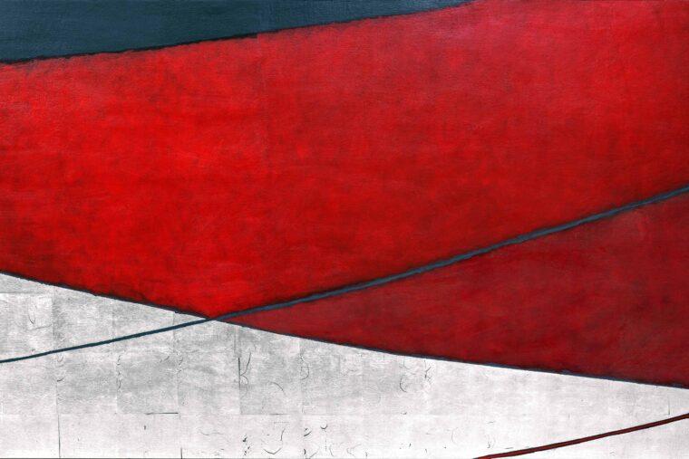 Temenos XIII, 70x120 cm, Posrebrzanie na pulmencie + akryl,2020